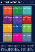 Calendário 2014 - estilo Metro