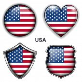 USA, United States flag icons, vector buttons.