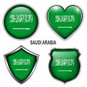 Saudi Arabia flag icons, vector buttons.