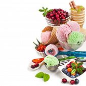 border ice cream with fresh berries with copy space isolated on white