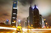 The Street Scene In Shanghai Lujiazui At Night,china