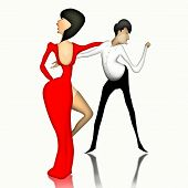 Lady in red dress and a gentleman in the white shirt dance the tango.