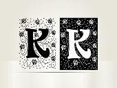 Vector ornamental letter K sign alphabet and logo