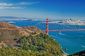 picture of alcatraz  - San Francisco With Golden Gate bridge and Alcatraz - JPG
