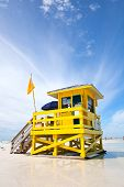 Siesta Key Beach Florida USA yellow colorful lifeguard