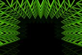 Abstract Green Triangle Truss Wall