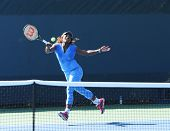 Sixteen times Grand Slam champion Serena Williams practices for US Open 2013