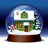 Isolated raster version of vector snow globe with snowman, green wooden christmas house covered with