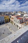 elevated view of Plaza Vieja in Havana, Cuba