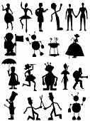 Silhouette of people, monsters and robots