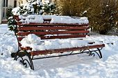 Snow-covered Bench Warms In The Sun