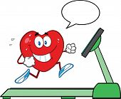 Healthy Heart Running On A Treadmill With Speech Bubble
