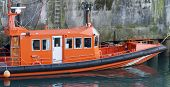 Maritime  rescue boat moored in the port of Llanes, Asturias, Spain