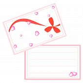 A White Valentine Card With Red Ribbon