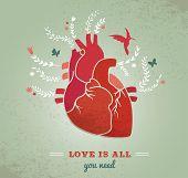 Amo a fondo con el corazón y las flores, día de San Valentín fondo