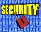 Security Sign With Padlock And Binary Data Stream