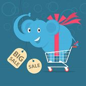 Elephant stands on shopping cart