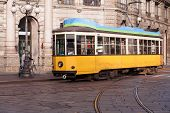 stock photo of tram  - Vintage tram on the Milano street Italy - JPG