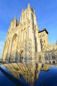 National Cathedral and reflection on a car - Washington DC, USA