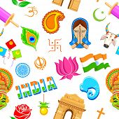 stock photo of kalash  - illustration of seamless Indian pattern with colorful icon - JPG
