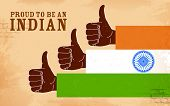 illustration of hand in India tricolor showing Proud to be an Indian