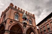 foto of canopy  - medieval palace of the merchandise or loggia of the merchants in Bologna Italy  - JPG