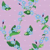 Seamless Pattern With Beautiful Flowers - Forget Me Not - Floral  Background.