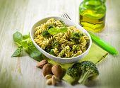 fusilli with broccoli and almond sauce, selective focus