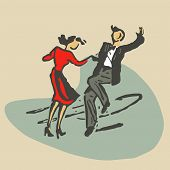 stock photo of rockabilly  - couple dancing rock - JPG