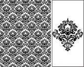 Damasco patrón de papel tapiz de embaldosado inconsútil