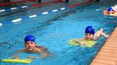 Children Of Primary School Age Are Trained In Swimming Pool.