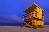South Beach, Miami, Florida, USA lifeguard post at twilight.