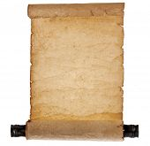 Ancient antique scroll  isolated on white background