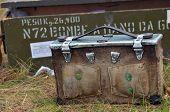 KIEV, UKRAINE -NOV 2:The Italian ammo boxes in the  reenactors' camp during during historical reenactment of WWII, Dnepr river crossing 1943, November 2, 2013 Kiev, Ukraine