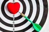 Black White Target With Dart In Heart Love Symbol As Bullseye