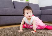 Little girl crawling at home