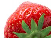 Macro Image Of Ripe Strawberry On White Background
