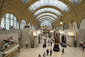 PARIS, FRANCE - SEPTEMBER 12, 2013: Visitors in the Musee d'Orsay. Opened in 1986, the museum houses