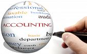 stock photo of cpa  - Hand Writing on Accounting Cirlce word concept with terms such as audit basis taxable and more - JPG