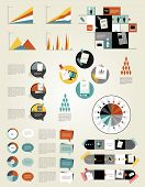 Infographic set elements. Speech bubbles, graph, charts, diagrams and tex fields. Vector illustratio