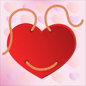 Red heart valentine label on the ropes. Vector