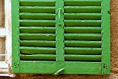 Green window shutter