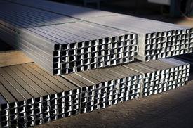 image of tin man  - tin sheet metal profiles in production hall - JPG
