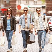 Three Young Male Shopping