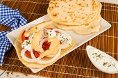 picture of gyro  - Freshly made chicken gyros with pita bread - JPG