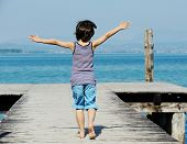 image of dock a pond  - Little kid walking down the bridge on a sea summer dock - JPG