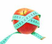 Measure Tape On Red Apple