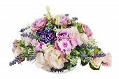 foto of centerpiece  - Bouquet from artificial flowers arrangement centerpiece in vase isolated on white background - JPG