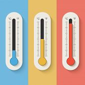 Thermometers On Color Background. Vector Illustration In Eps10 Format.