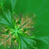 Beautiful Fractal Flower In Green And Beige. Computer Generated Graphics.